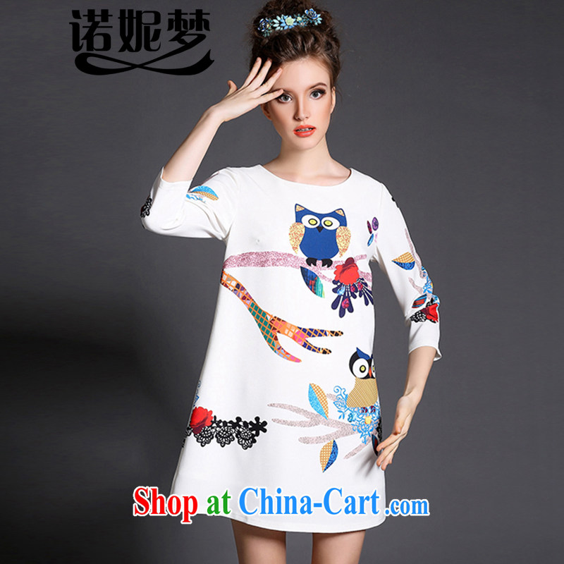 Connie's Dream Original high-end in Europe and indeed the XL women 200 Jack mm thick 2015 new spring fashion owl stamp dresses G 366 white XXXXXL