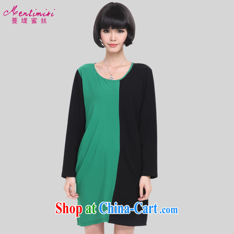 Mephidross economy honey, and indeed increase, female fat MM 2015 spring new Korean Hit color stitching loose cotton long-sleeved dress 2817 picture color the code 5 XL