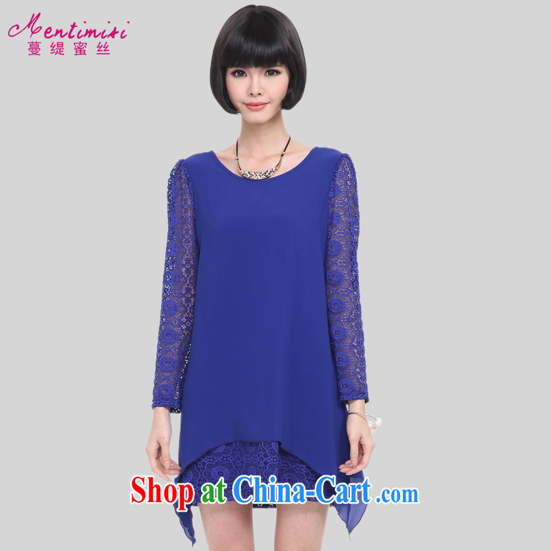 Mephidross economy honey, and indeed increase, women 2015 spring new Korean lace stitching graphics thin long-sleeved dresses 2832 large blue code 5 XL