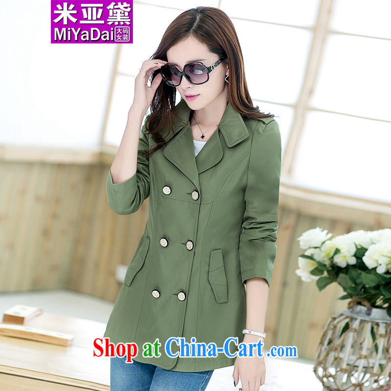 The Diane larger female wind jacket thick sister spring 2015 new Korean video thin, long, large, wind jacket and indeed 200 Jack army green 3XL _150 - 170 _ jack
