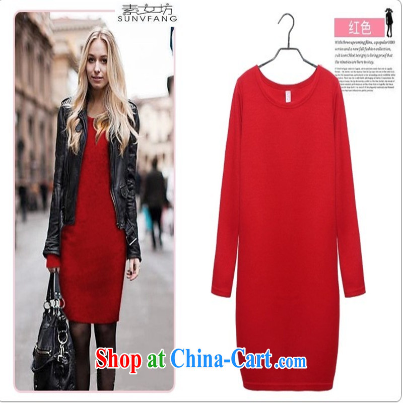 Pixel girl workshop 2015 new Autumn with solid skirt the Code women loaded autumn video slim skirt the lint-free cloth 298 long-sleeved red XXXXXL