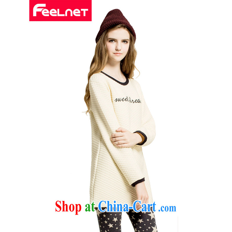 The feelnet Code women spring Europe video thin thick mm long-sleeved T-shirt 100 ground Korean warm larger T pension 2229 apricot large code 6 XL