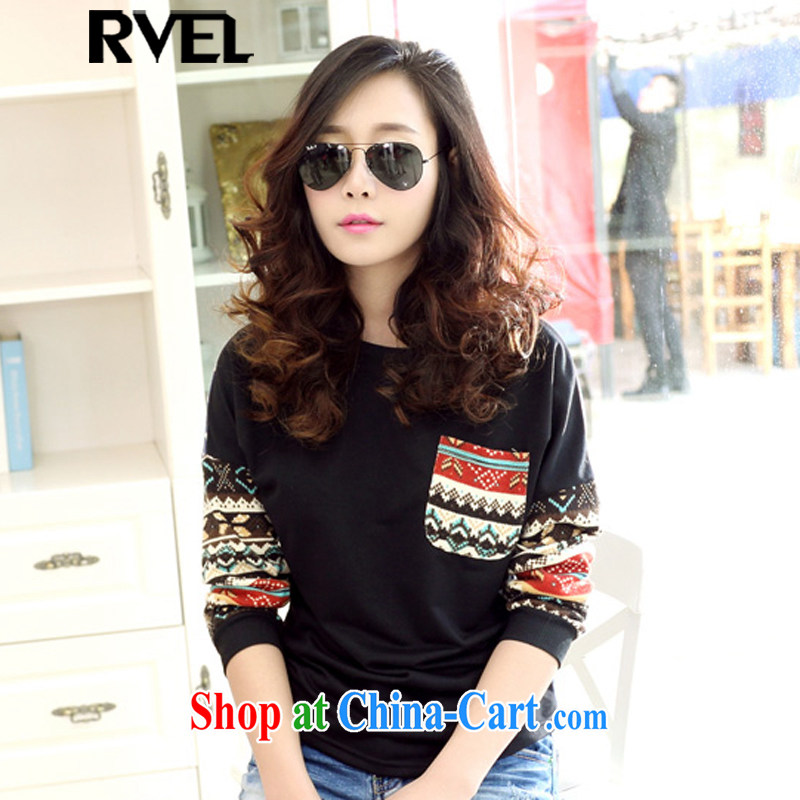 Rvel 2015 spring new thick MM XL video thin blouses solid shirt long-sleeved shirt T female P 105 black XL _125 to 140 jack_
