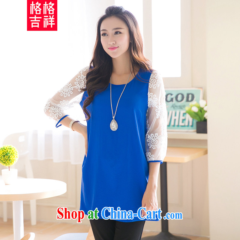 Huan Zhu Ge Ge Ge 2015 spring and summer New, and indeed increase, female fat MM loose video thin Openwork cuff Web yarn stitching snow woven dresses V 5006 blue 4 XL