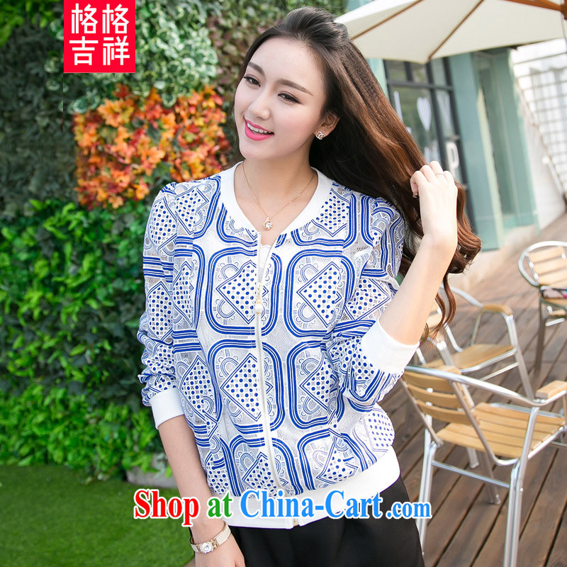 Huan Zhu Ge Ge Ge spring 2015 new loose larger female Openwork lace stamp exquisite zipper 7 cuff jacket women Beauty, 5012 V blue 4 XL