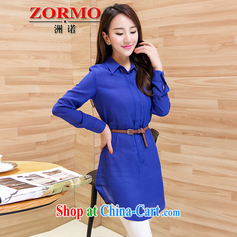 ZORMO Korean female spring long-sleeved, long, and indeed increase, snow-woven shirts thick mm King casual women shirt blue 5 XL 175 - 200 jack