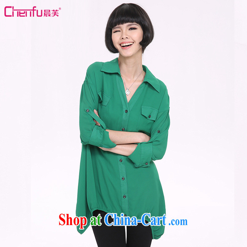 Morning would be 2015 spring new and indeed increased in Europe and America, relaxed beauty and fresh green lapel, long, ladies stylish short-sleeve style green 4 XL (165 - 180 ) jack