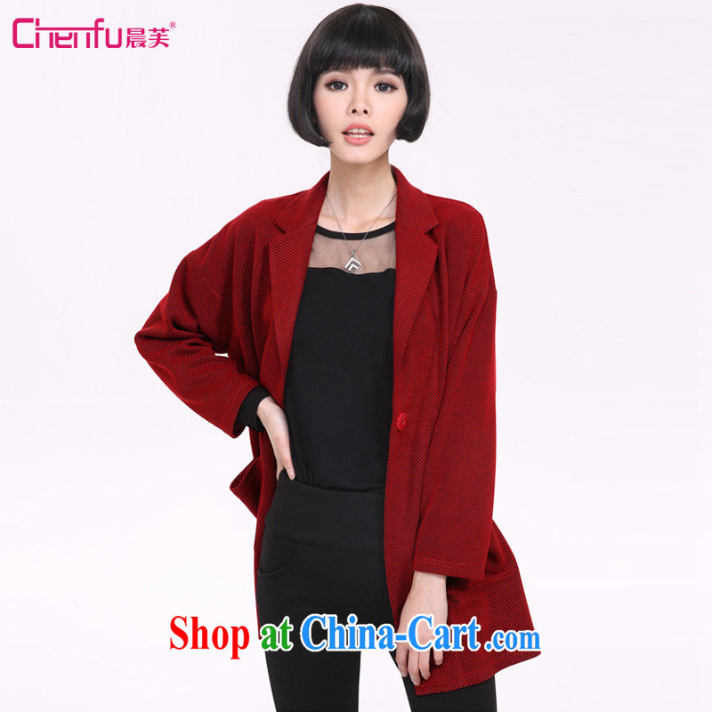 Morning would be 2015 Plus is indeed increasing, female thick mm spring loaded new European and American lapel thick coat and stylish high-end atmosphere and a field bag leisure hair coat is red 5 XL _180 - 200 _ jack