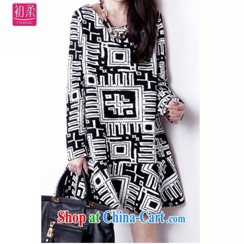 Flexible early spring and autumn 2015, relaxed the version female expertise in Europe and mm larger long-sleeved flouncing skirt solid dress 200 jack to wear picture color XL