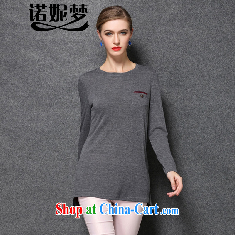 Connie's Dream Original Europe and indeed the XL female thick mm long solid T-shirt 2015 spring new long-sleeved shirt T knit sweater jacket Y 1676 gray XXXXL