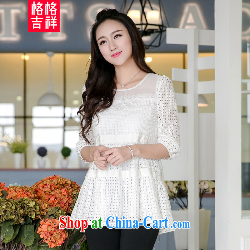 Huan Zhu Ge Ge Ge 2105 the code female summer new thick MM graphics thin Openwork lace 7 T cuff shirt, long, female T-shirt V 5016 white 3XL (suitable for 165 - 180 jack)