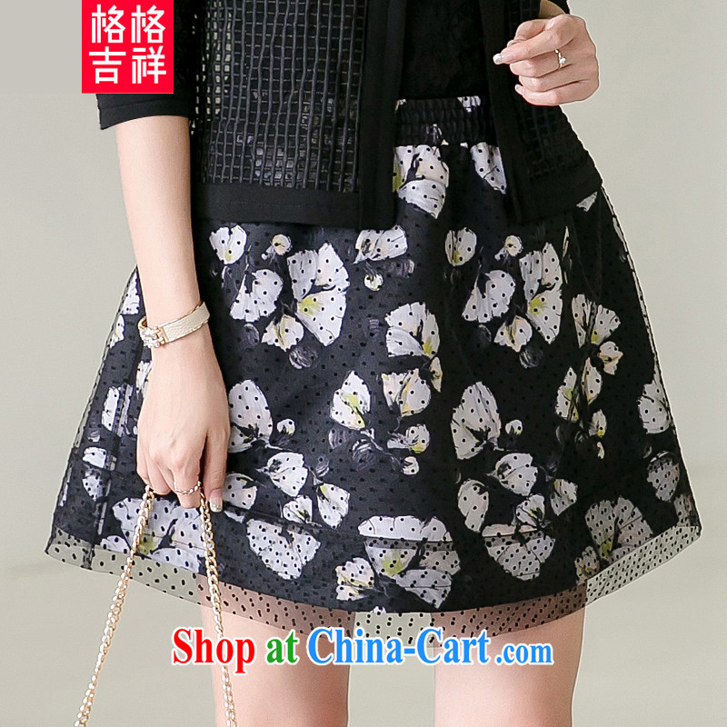 Huan Zhu Ge Ge Ge spring 2015 new stylish stamp short skirt XL female double fluffy Princess skirt skirt body V 5019 black 2 XL