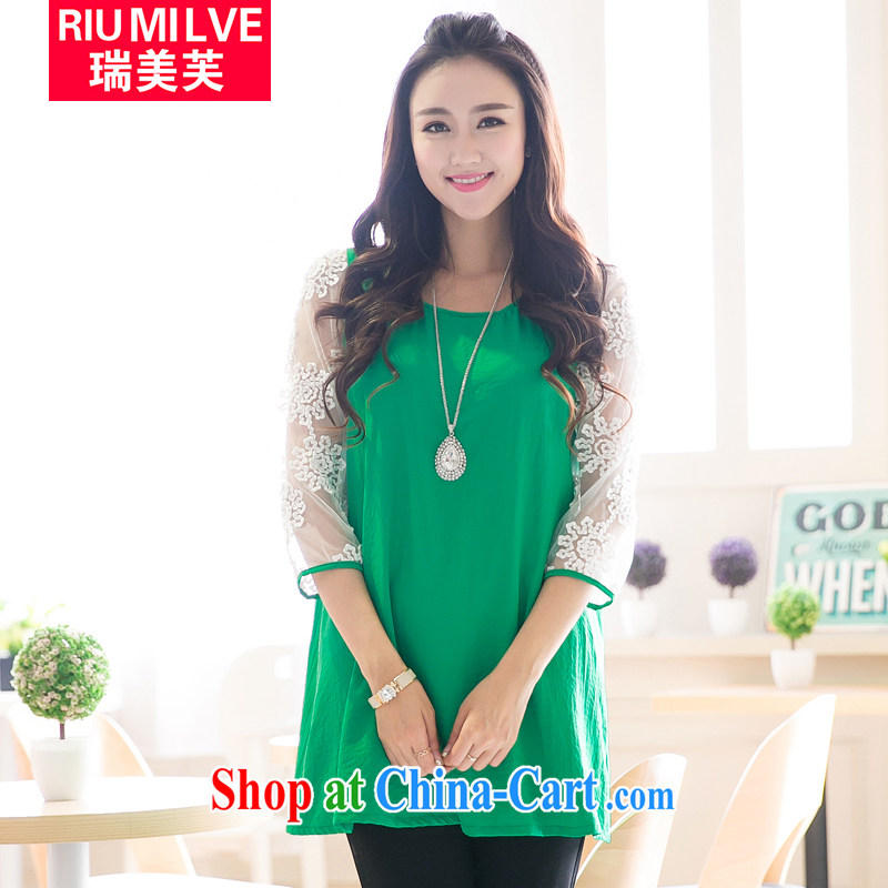Ryan and the United States concluded the fat XL women 2015 spring and summer new thick MM loose video thin sweet Web yarn stitching snow woven dresses V 5006 green XXXL