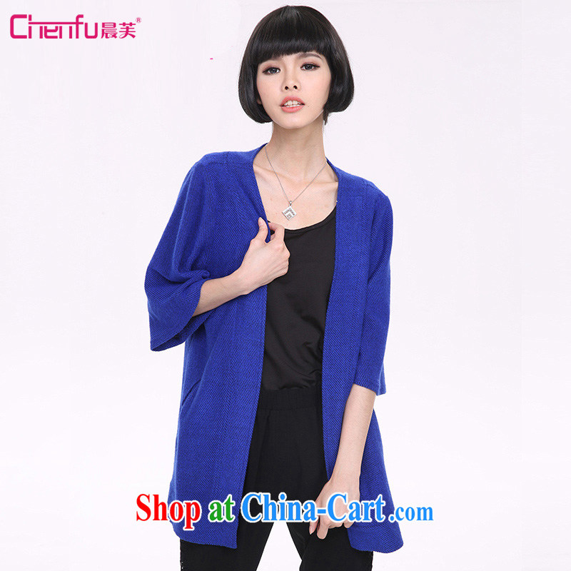Morning would be 2015 New Europe, and indeed increase, knitted warm jacket thick mm stylish loose ribs-cardigan jacket 5 cuff casual blue 5 XL _recommendations 180 - 200 jack_