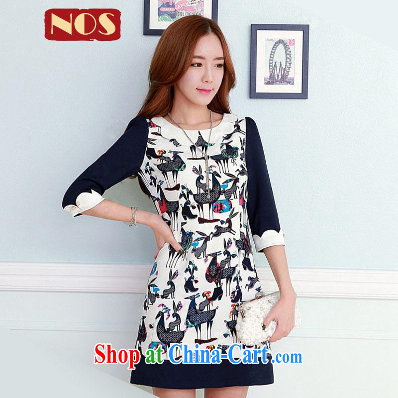 Thin _NOS_ Korean version of the greater code dress dresses beauty graphics thin knocked color stamp solid skirt Q 111,131 large blue code 4 175 XL about Jack