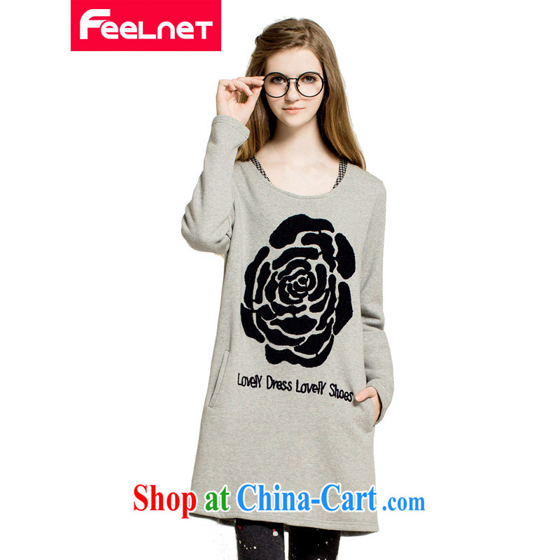 feelnet larger women 2015 spring video thin thick mm long-sleeved T-shirt for 100 Korean large code T pension 2222 large gray code 4 XL