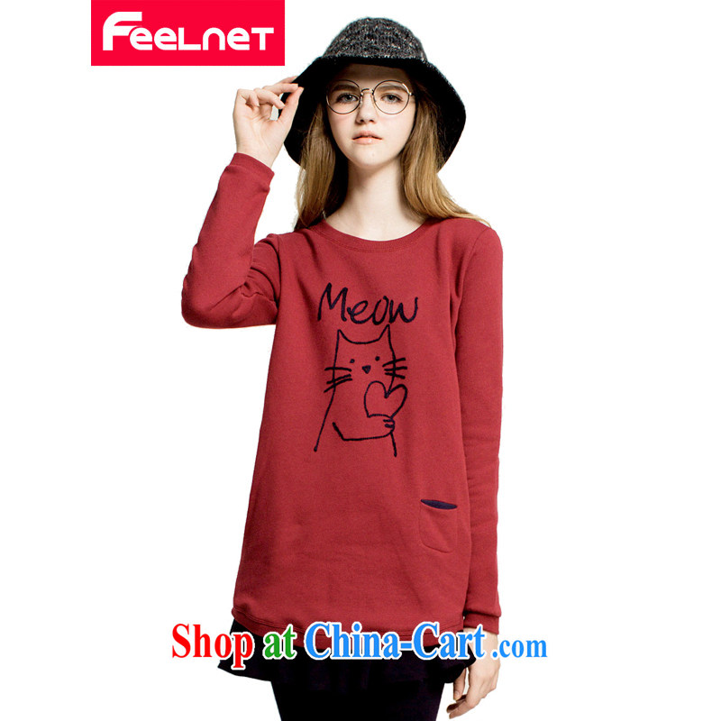 feelnet larger women 2015 spring video thin thick mm long-sleeved T-shirt for 100 Korean large code T pension 2219 big red code 6 XL