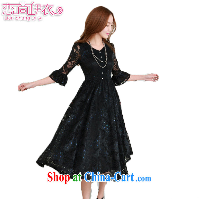 Land is the Yi spring 2015 new Korean version of the greater, female retro 7 cuff double-color Phoenix lace dresses thick MM large, long skirt 98,337 black XXXXL