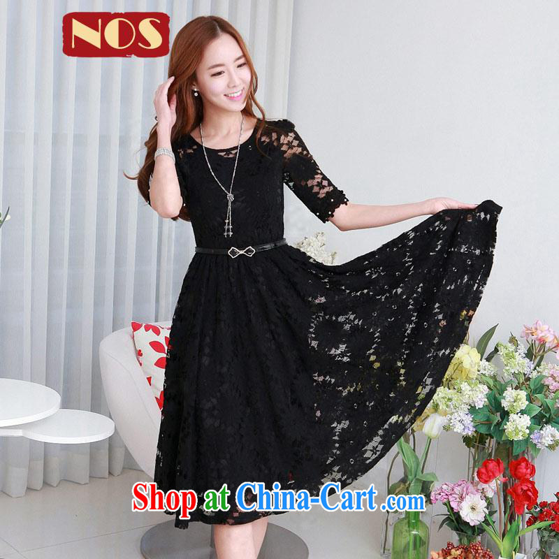 NOS Korean version the code dress dresses beauty graphics thin lace stamp large skirt 3-Piece Q 983,331 black, vest dress + belt large code 4 XL 175 Jack left and right