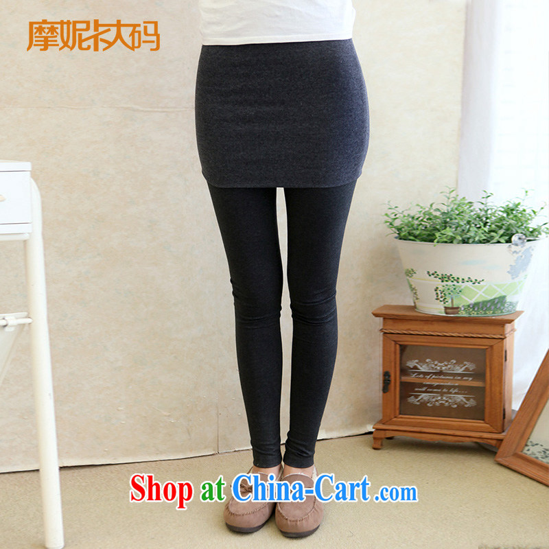 The Code female Korean version 2014 mm thick winter new female stretch video thin leave two casual pants solid gray children XXXXL