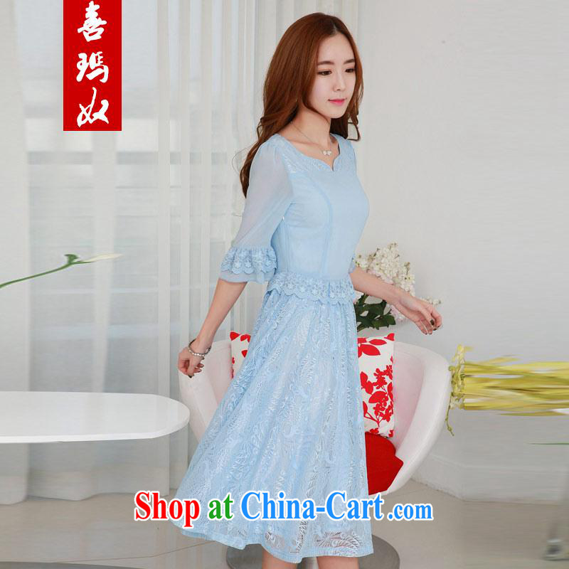 Hi Princess slave Korea version of the greater code dress the waist graphics thin lace stitching snow woven large skirts dresses Q 983,369 large blue code 2XL 145 Jack left and right