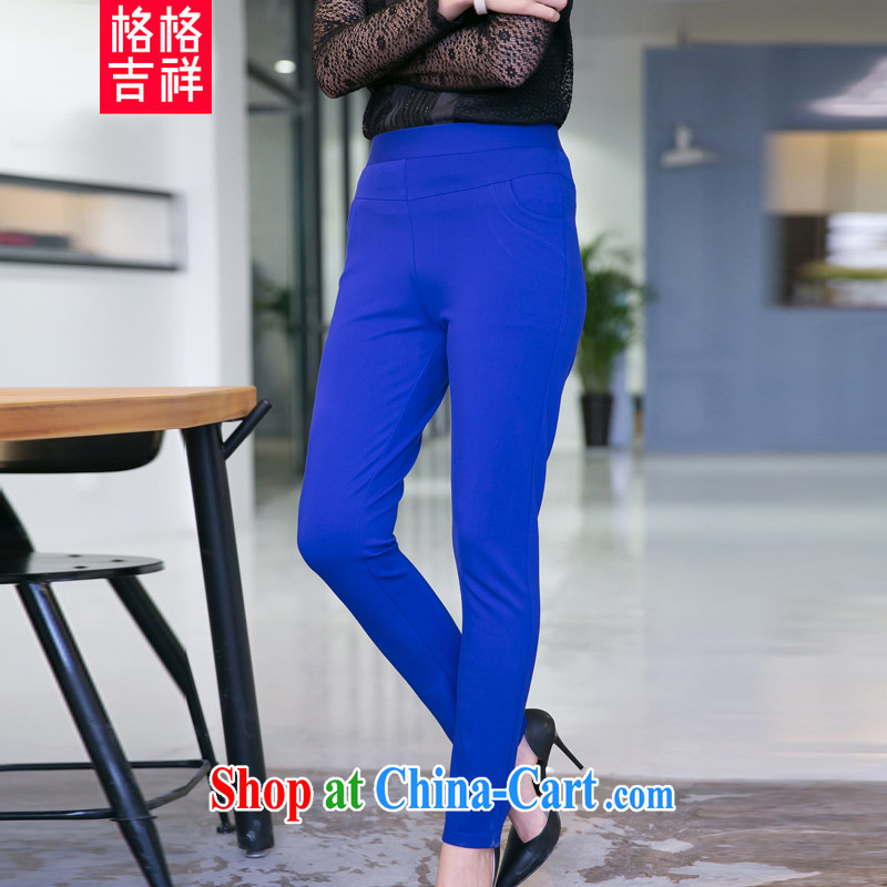 Princess lucky thick MM and indeed XL women 2015 spring and summer new knitted elastic pencil castor pants high-waist elastic solid pants V 5053 blue 3 XL