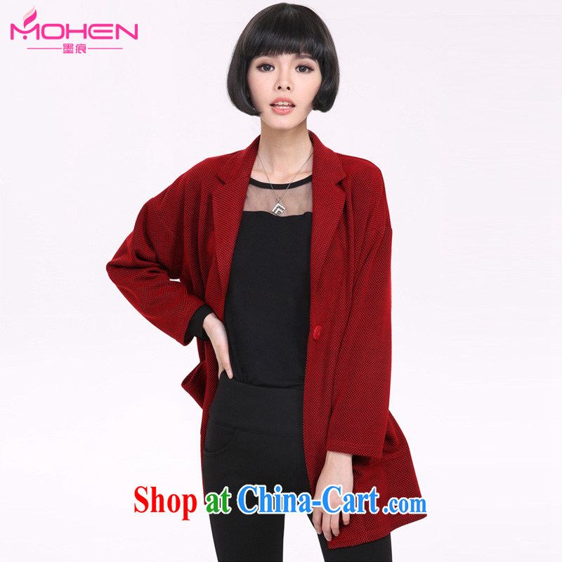 The ink marks spring 2015 new, larger women mm thick and fat XL simple plain colors and stylish 100 ground on long-sleeved sweater jacket red 5XL _recommendation 180 - 200 jack_