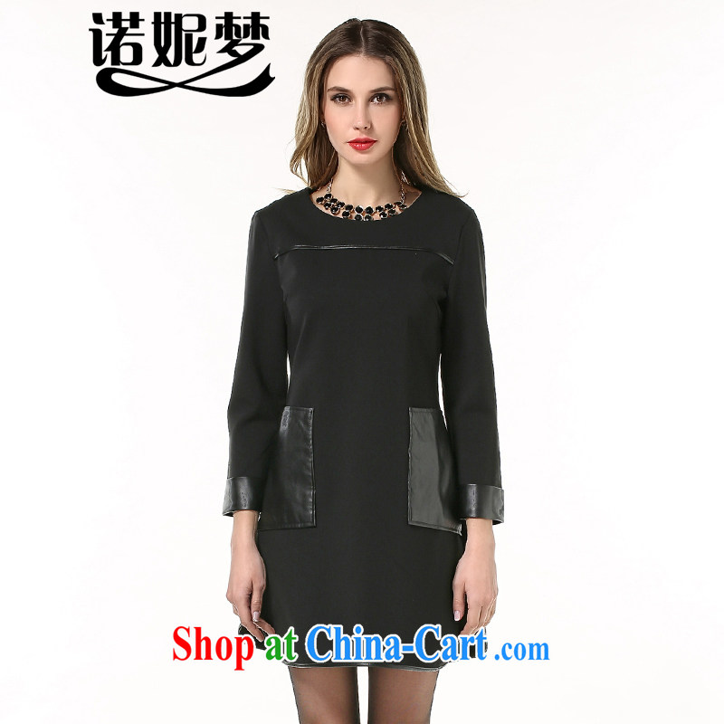 Connie's Dream Original in Europe and indeed the XL female 200 Jack mm thick 2015 spring new Pu leather stitching even long-sleeved clothing skirt s 1863 black XXXXXL