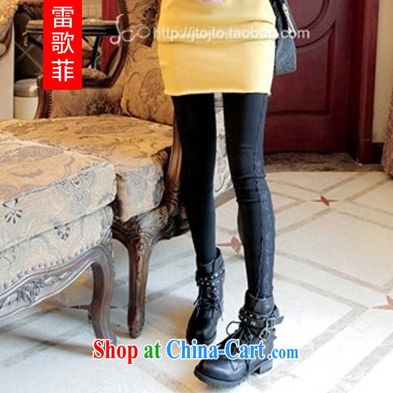 Mine music 2014 fall and winter new and indeed XL female 200 Jack mm thick lace lace package and solid beauty salon 98,303 black 5 XL