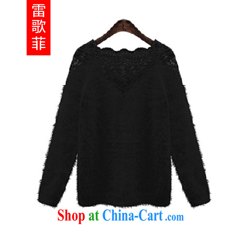Mine music spring 2015 the new Europe and indeed the XL mm thick beauty lace stitching warm sweater knit-shirt solid black 5018 3 XL