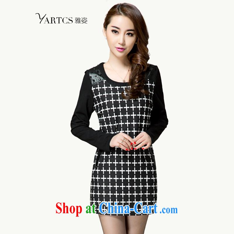 Colorful, larger women 2015 spring new Korean fashion 1000 bird, Video thin dresses tartan skirt solid A 8021 black 4XL