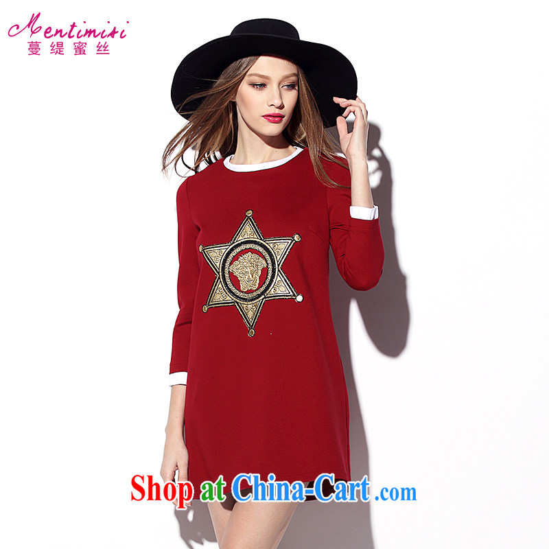 Mephidross has long honey, spring 2015 with new, larger female American big high-end cotton cultivating retro long-sleeved dresses 100 solid ground skirt 2002 big red code 4 XL