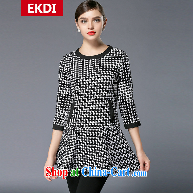 The silk, honey XL girls thick MM graphics thin 2015 spring loaded with black-and-white 1000 birds, cultivating dresses ZZ 3340 Map Color XL (118 jack - 130 Jack through)
