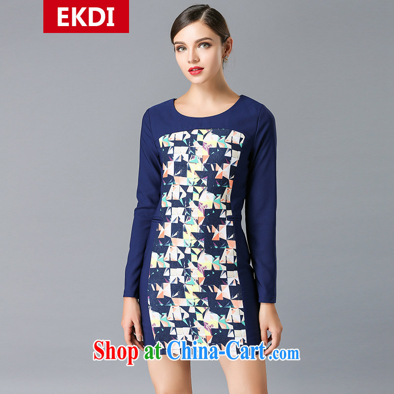 The silk, honey XL girls thick MM graphics thin 2015 spring round-collar stamp beauty dresses ZZ 3337 blue 5 XL _171 jack - 183 Jack through_