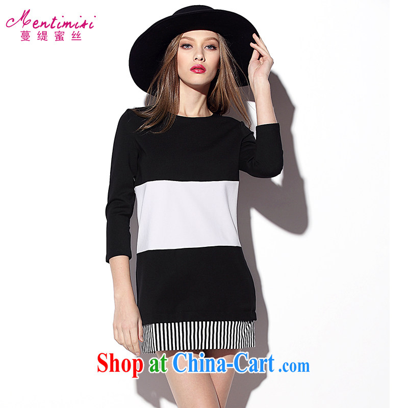 Mephidross economy honey, 2015 spring new larger female elegant style graphics thin streaks knocked Color cotton long-sleeved dress 2016 black-and-white streaks the code 4 XL