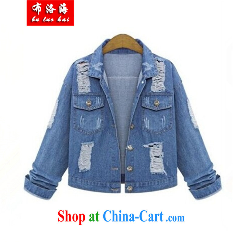The sea 2015 spring new and stylish large Code women mm thick denim jacket and indeed intensify, short jacket, T-shirt 2335 photo color XXXXXL_190 - 220 jack
