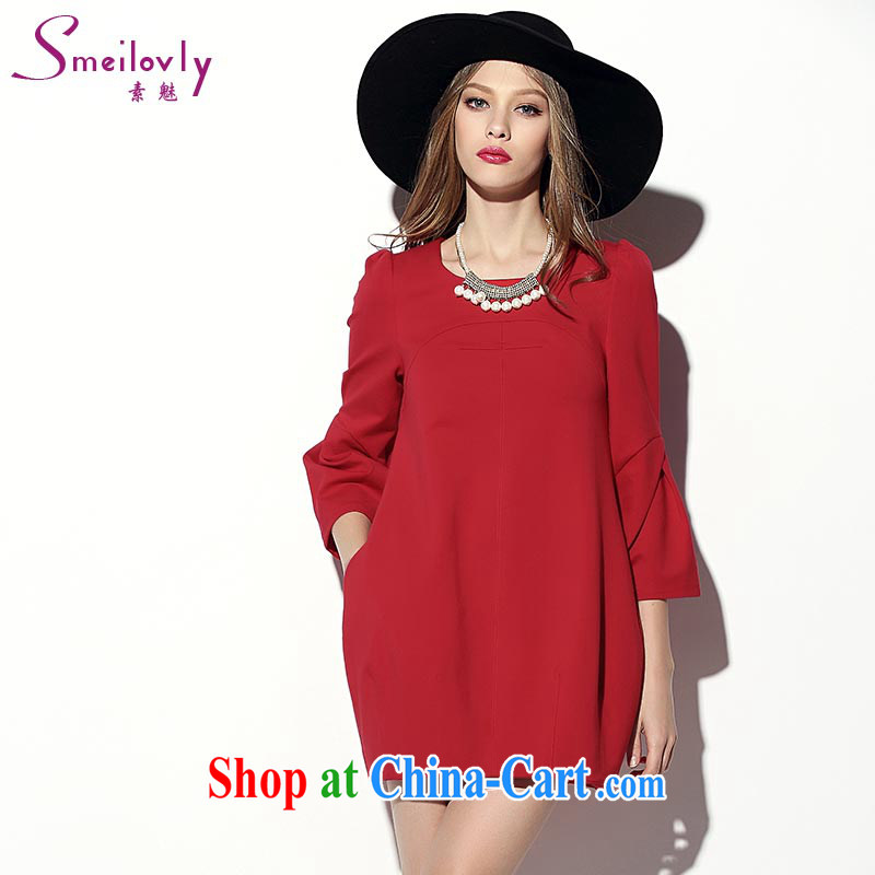 Director of the European site 2015 new Korean fashion spring loose version lantern skirt thick MM spring loaded the code graphics thin dresses 2014 big red code 3 160 XL about Jack
