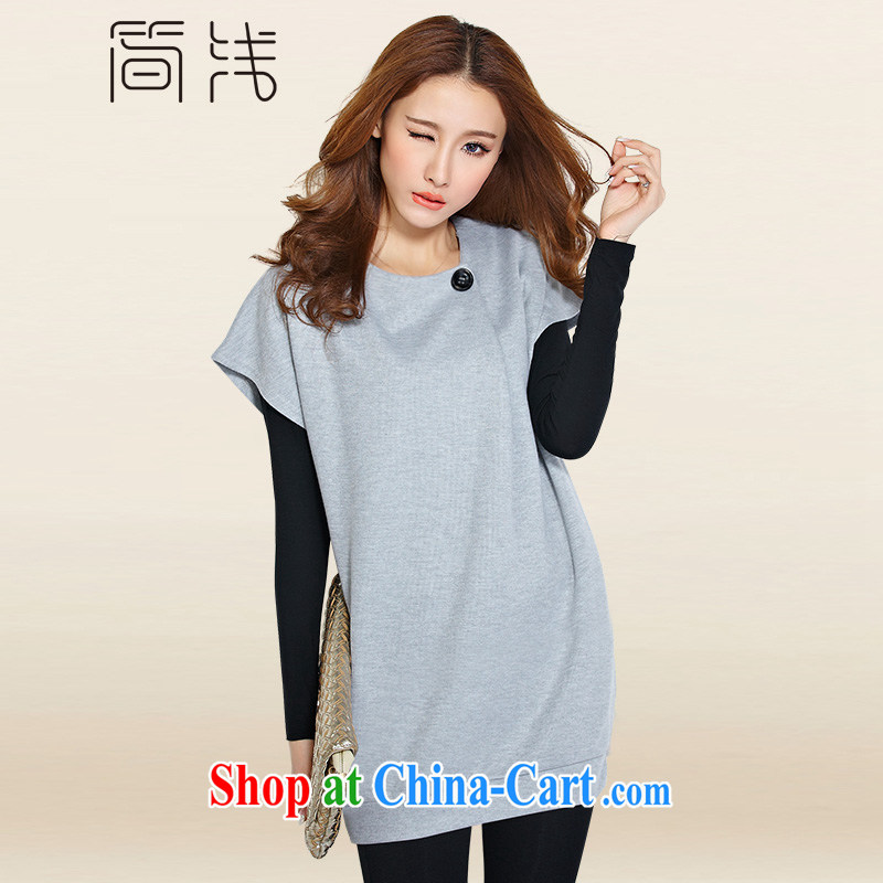 In short light dresses 2015 new king, Female M - 4 XL short-sleeved dress two-piece thick girls with graphics thin, summer 1182 light gray XL