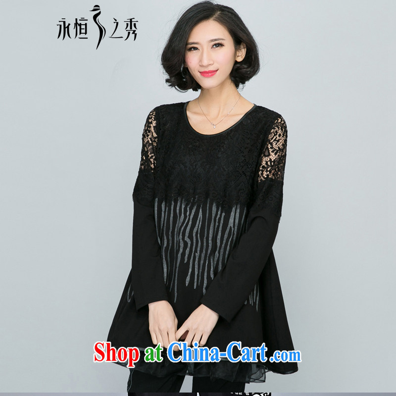 Eternal-soo and indeed increase, female 200 Jack 2015 spring new MM thick eyelashes lace round-collar-cake skirt with long-sleeved shirt T dress shirt black 4 XL