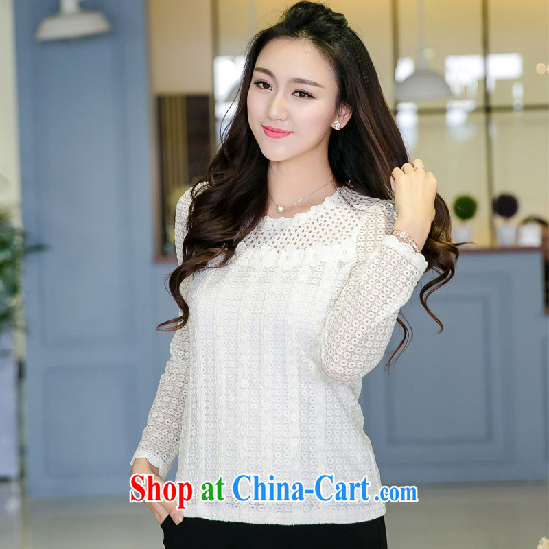 Huan Zhu Ge Ge Ge 2015 spring new products, women spend staples Openwork vertical ribbed lace long-sleeved lace girls T shirts, cultivating V 5020 white 4XL, giggling auspicious, shopping on the Internet