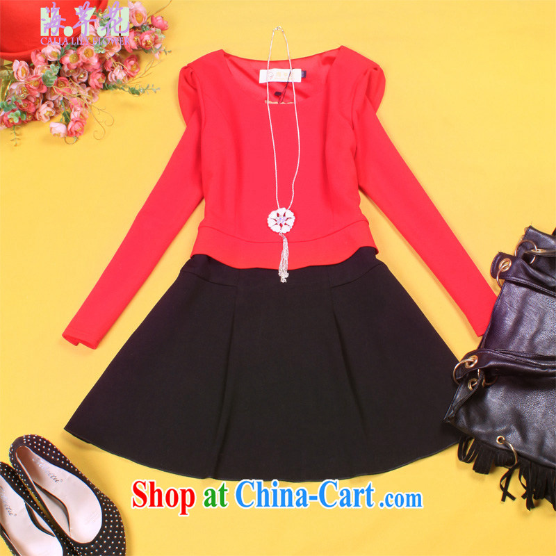 The line takes the Code women new Korean video thin thick mm long-sleeved round-collar personalized spell color leave of two garment, solid through WTD - 2 red 3 XL