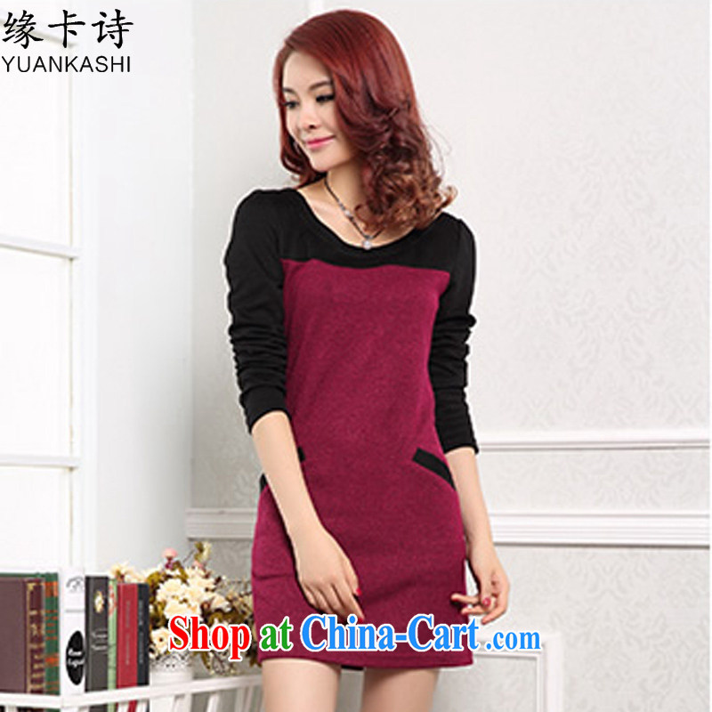 edge card poems 2015 new larger female thick MM loose video thin solid shirt long-sleeved dresses girls maroon XXXXL