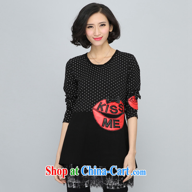 2015 spring mm thick lace small shirts and indeed XL female graphics thin winter clothes long, thick sister solid shirt thick mm plus fat XL solid shirt black XXXXL
