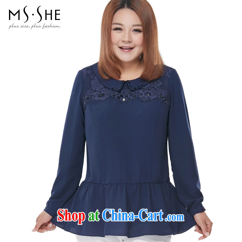 MSSHE XL ladies' 2015 spring lace-up waist doll for long-sleeved snow woven shirts clearance 2696 blue 3 XL
