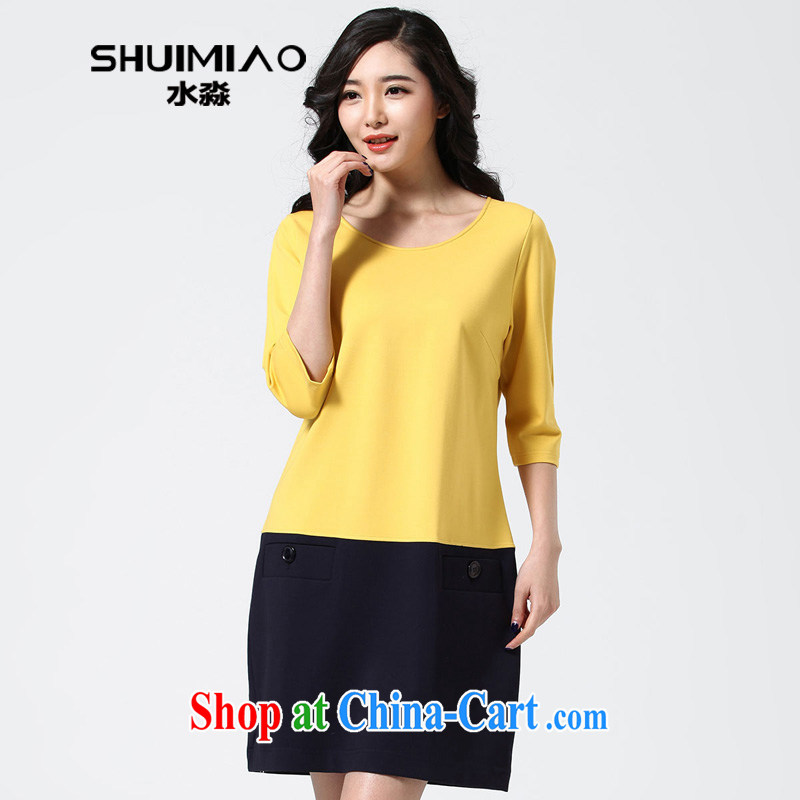 Water with larger female thick mm spring new 2015 Korean version of 5 sense in cuff dress S CY 15 in 4655 Wong XXL