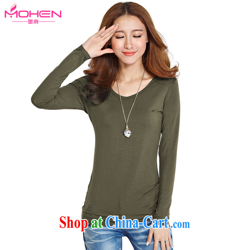 Ink marks spring 2015 new larger female Korean version mm thick and fat XL minimalist round-collar long-sleeved Solid Color beauty T-shirt solid T-shirt military green M (recommendations 85 - 100 jack)