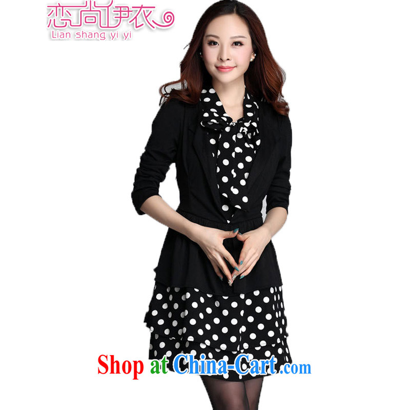 Land is the Yi 2015 spring new Korean commuter OL temperament and indeed XL thick MM thick sister dot leave of two long-sleeved cake dresses black XXXXL