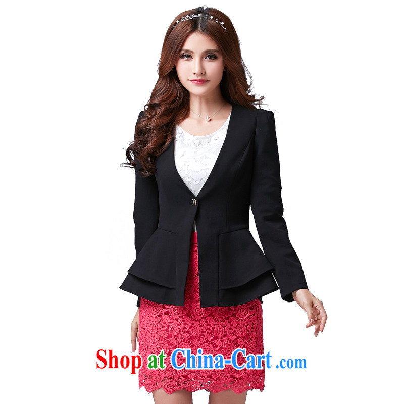 cheer for the code female spring new OL career jacket cultivating long-sleeved V collar and indeed intensify, the number 2588 black 2 XL