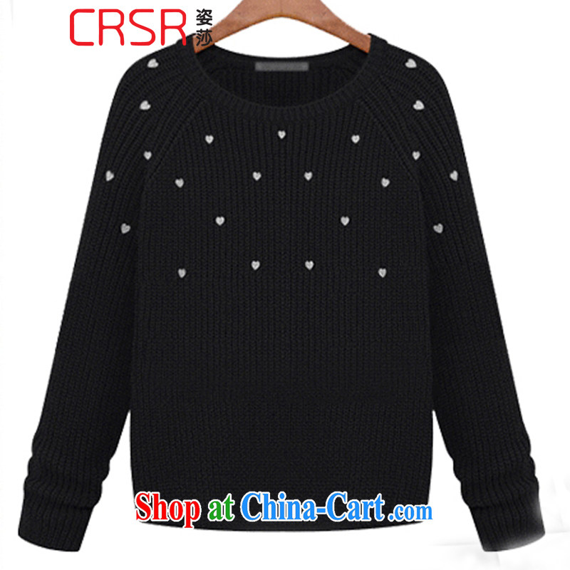 Elizabeth City Winter 2015, Korean version of the greater code stylish 100 ground Sweater Knit sweater 6160 Midnight Black L
