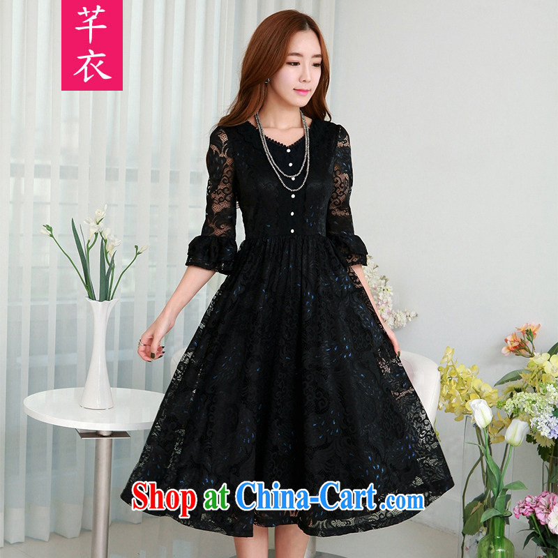 Constitution, 2015 new spring and ventricular hypertrophy, female retro 7 sub-cuff double-color Phoenix lace-up waist dresses on her sister, long temperament, large skirt black 3 XL 145 - 160 jack
